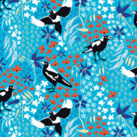 Taking Flight - Merry Magpies on Bright Blue