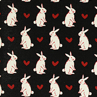 Radiant Girl - Bunnies and Hearts in Black