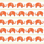 Riley Blake Designs - Boy Elephants in Orange