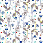 Flower Doodles - Floral Lines in Royal Blue