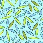 Koala Party - Leaves in Aqua/Blue