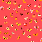 Heather Ross 20th - Butterflies in Coral
