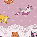 Caturday - Raining Cats Double Border in Rose