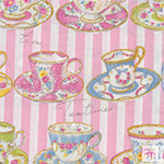 Live Life - Teacups on Pink Stripes